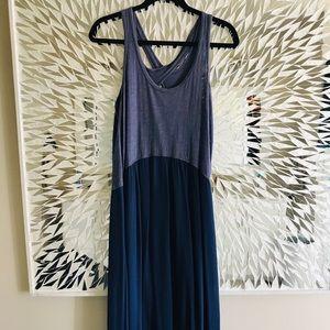 Anthropologie Tulipan hi low maxi dress- blue-